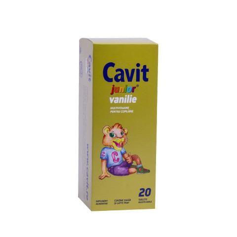 Cavit Junior Vanilie - 20 cpr - prin compoziţia sa, este o sursă de vitamine esenţiale pentru copii, contribuind la dezvoltarea armonioasă şi sănătoasă a întregului organism.