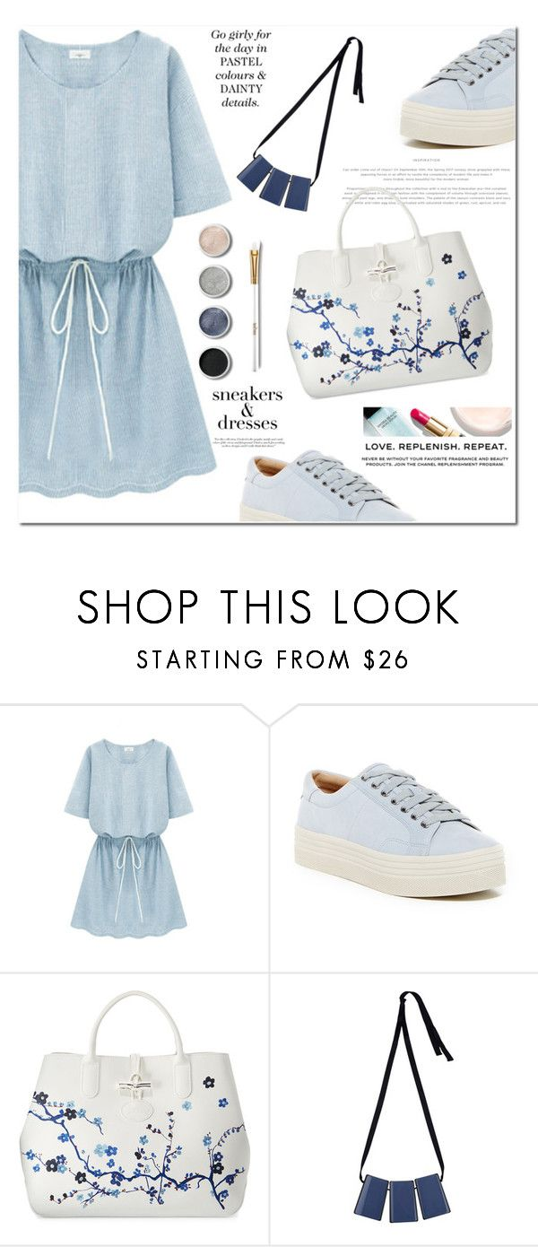 """""""Sneakers & Dresses"""" by jan31 ❤ liked on Polyvore featuring TIBI, Marc Fisher LTD, Longchamp, Marni, Terre Mère, Chanel, Victoria Beckham, sneakers, platformsneakers and floralbags"""