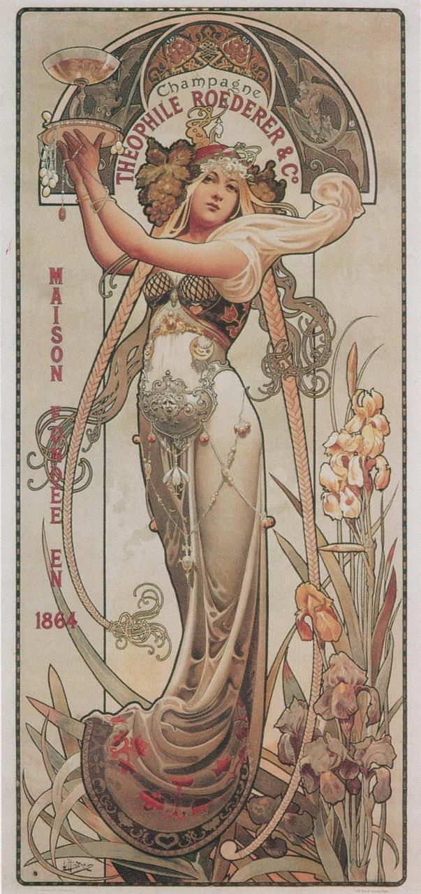 Poster advertising Théophile Roederer's champagne  By Louis-Théophile Hingre, 1897, colour lithograph