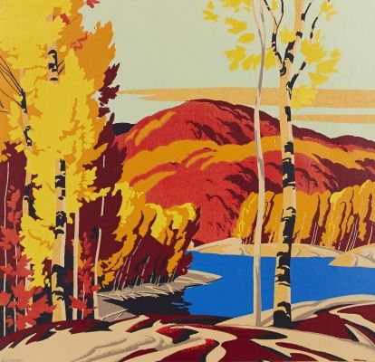 Lot #35 ALFRED J. CASSON Lake in Fall silkscreen on board signed lower left 15.5 x 16.25 ins ( 39.4 x 41.3 cms )  Closes September 25th at 02:00:00 PM CDT - See more at: http://www.consignor.ca/artwork/AW25886#sthash.6HAUzQsl.dpuf