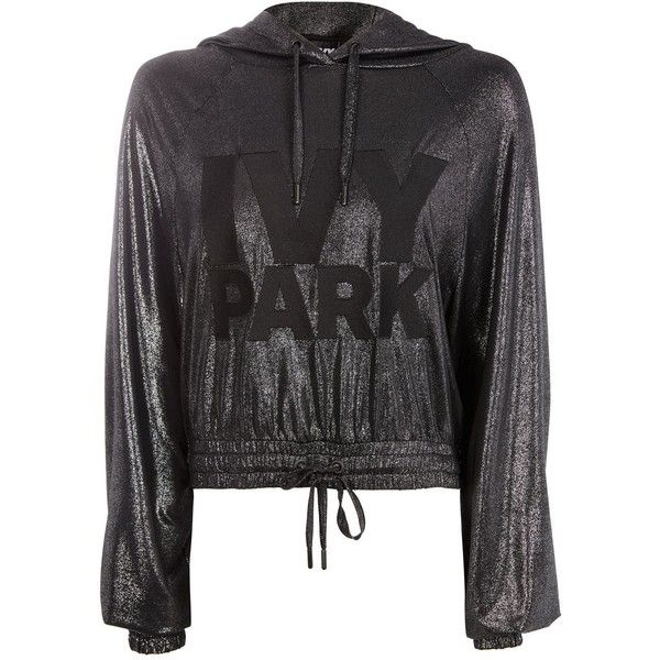 Lamé Logo Hoody by Ivy Park (¥7,890) ❤ liked on Polyvore featuring tops, hoodies, silver, hoodie top, sweatshirt hoodies, hooded sweatshirt, metallic top and hooded pullover