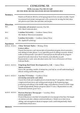 Resume Examples Journalism ResumeExamples
