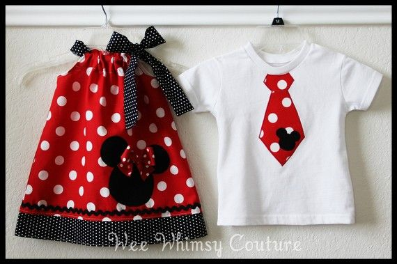 I'm a sucker for matching boy and girl outfits since they are hard to find.  I'd love to make something like this for our first Disney trip.