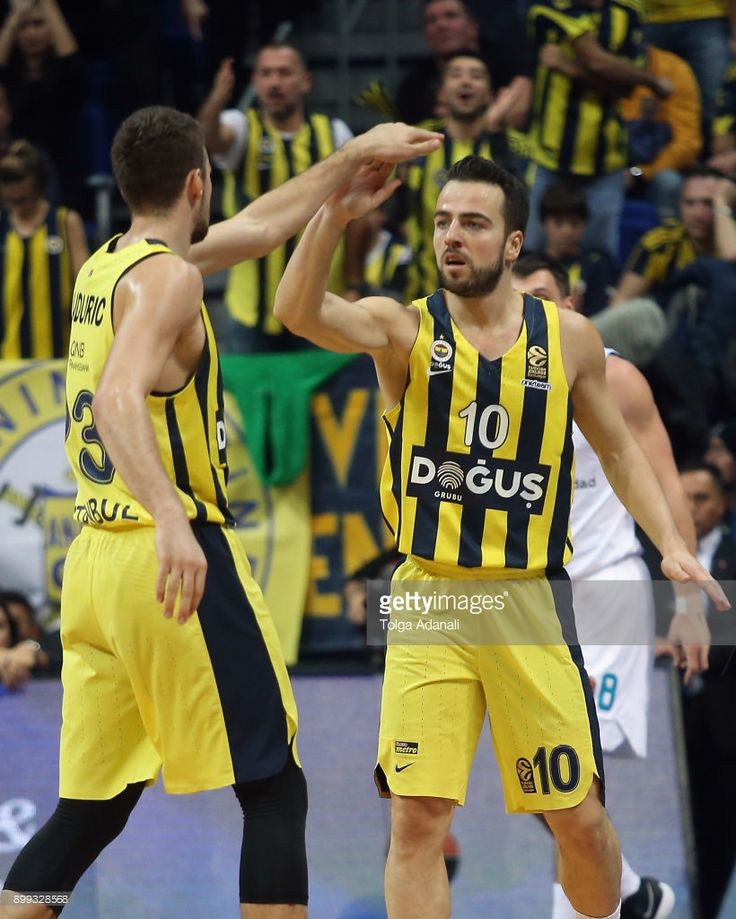 Melih Mahmutoglu, #10 and Marko Guduric, #23 of Fenerbahce Dogus in action during the 2017/2018 Turkish Airlines EuroLeague Regular Season Round 15 game between Fenerbahce Dogus Istanbul and Real Madrid at Ulker Sports and Event Hall on December 28, 2017 in Istanbul, Turkey.