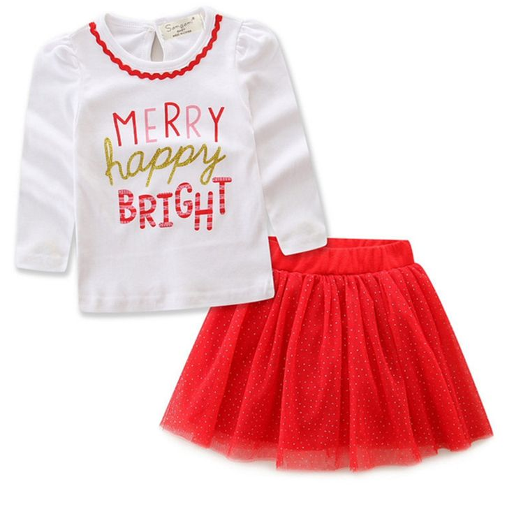 Kids Girls Christmas Outfit Skirt Set Funny Letter Long Sleeve Top Polka  Dot Tutu Skirt