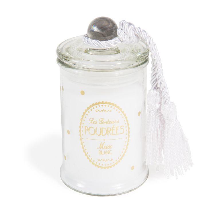 Bougie bonbonnière parfumée musc blanc blanche - Maisons du monde