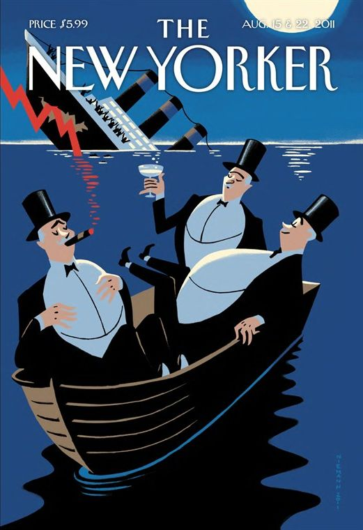 What a great metaphor for our economy.  I'm sure they have a luxury yacht waiting in the wings-the rich wouldn't stay in a dingy for long! - New Yorker Cover Quiz