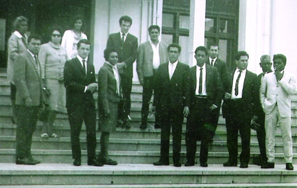 My Dad, Charlie Perkins, Chicka Dixon, Faith Bandler et al on Parliament steps in 1960s