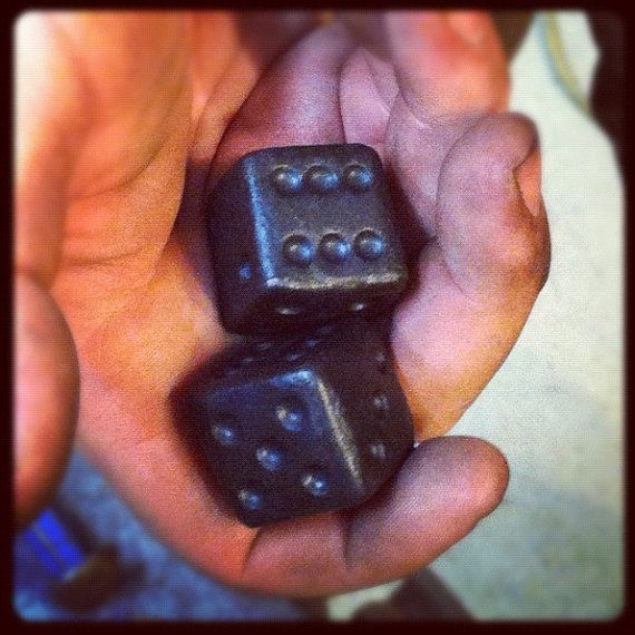 Pair Forged Metal Dice  Wrought Iron  Item by NorthernCrescentIron, $14.00