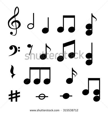 note music icons - stock vector