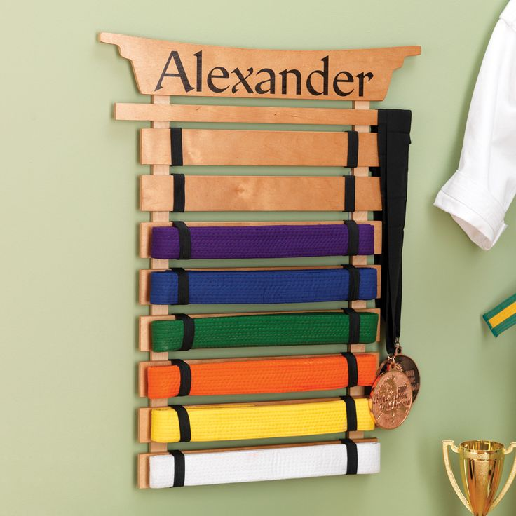 The perfect way to display Martial Arts belts - Martial Arts Belt Holder by KidKraft