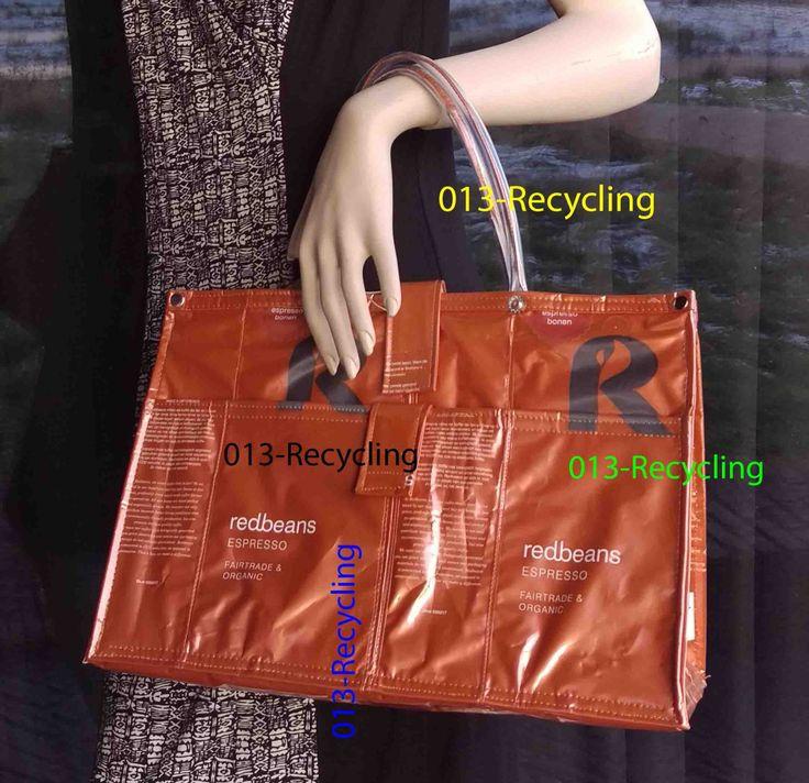 Handbag/Handtas recycled Coffeebags/Koffiezakken_01_type Red Beans_shiny orange/glimmend oranje door Petershandmades op Etsy