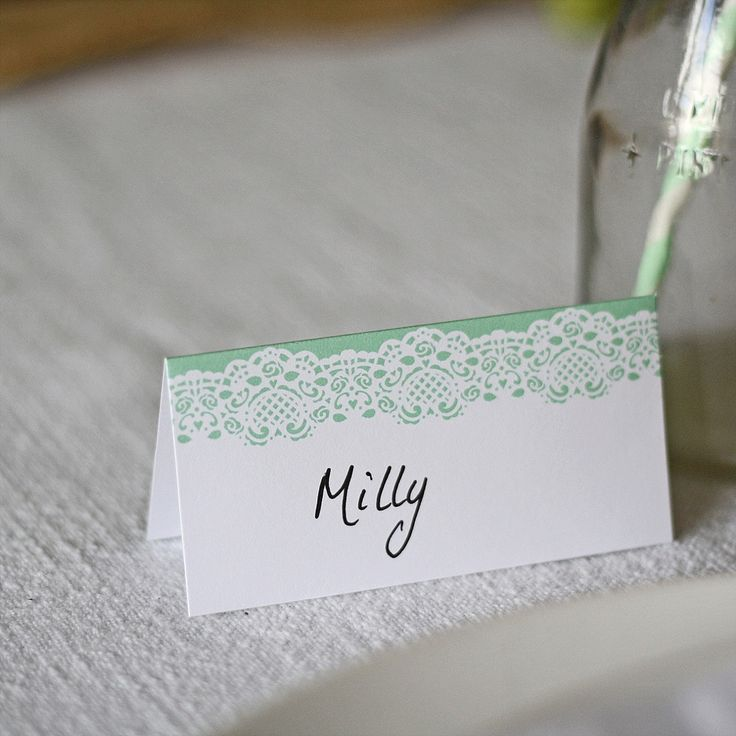 printable wedding place cards vintage%0A Mint Green Place Card  u     Set Of