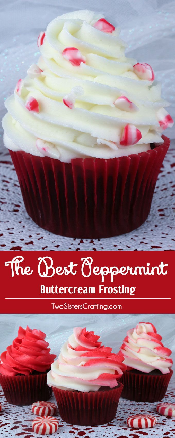 The Best Peppermint Buttercream Frosting. We think it tastes just like a butter mint candy - sweet, creamy, buttery with just the right amount of peppermint flavoring. It will make anything you put it on taste better - especially a Christmas dessert or treat! Pin this yummy homemade frosting for later and follow us for more great Frosting recipes.
