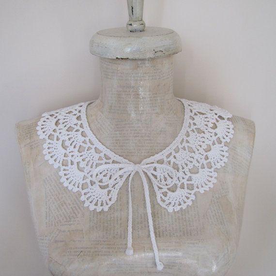 PETER PAN Collar Lace Collar Crochet Necklace Lace by elfinhouse