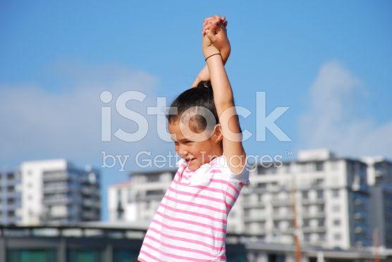 Polynesian Girl Stretching royalty-free stock photo