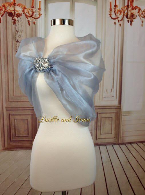 Grey Organza Shrug Grey Bolero Organza Bridal Stole With Rhinestone Brooch Closure Silver Organza Shoulder Wrap Caplet Prom Shawl