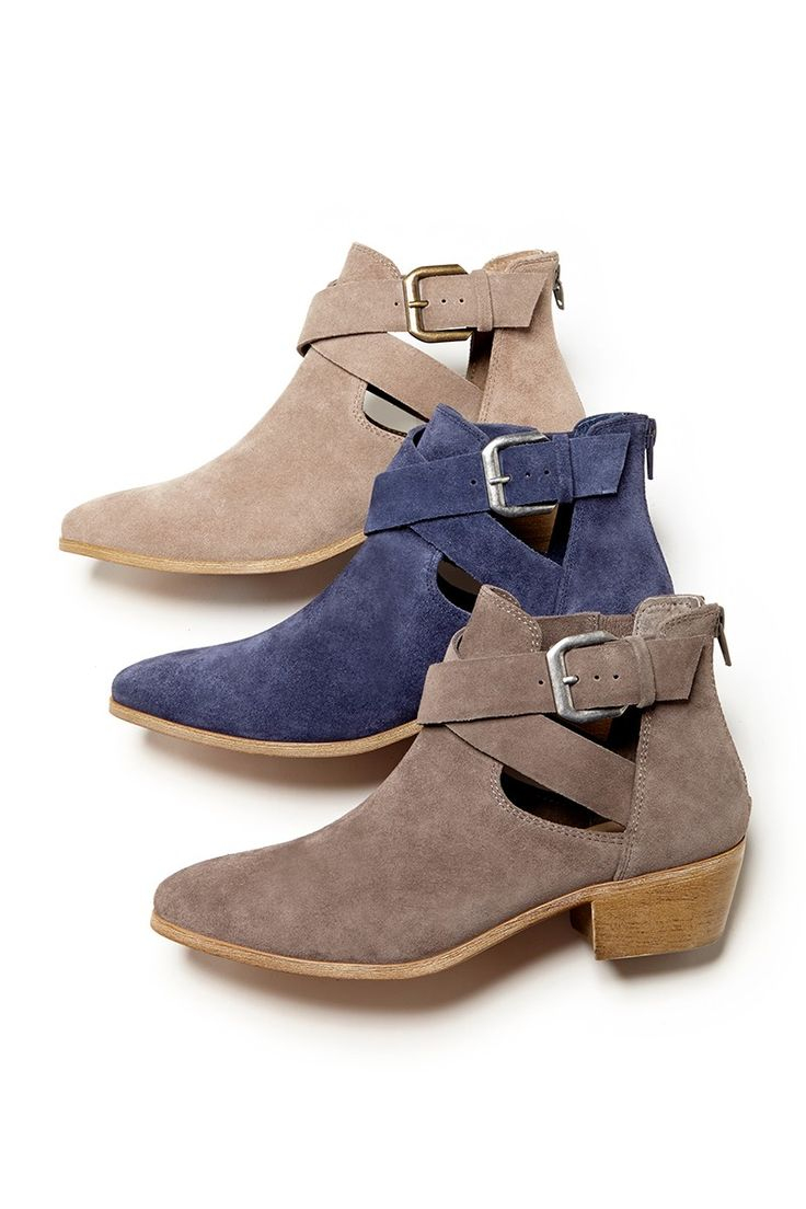 Cutout suede booties. Love the middle blue/denim coloured ones//