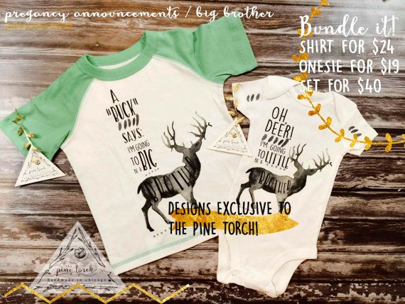 BUNDLE: OH DEER / Little Brother Onesie + Big Brother Toddler Shirt / Pregnancy announcement / BohoTribal / Deer Antlers / Woodland / Raglan