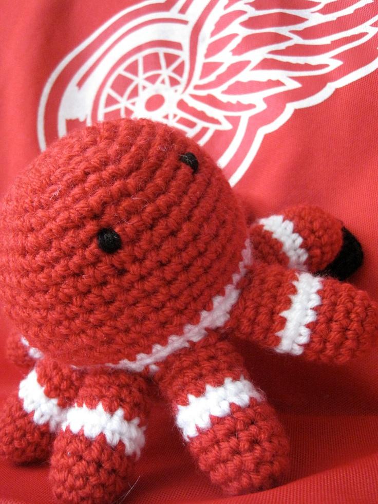 PLAYOFF SALE Detroit Red Wings Fan Crocheted Octopus by kymeki, $10.00