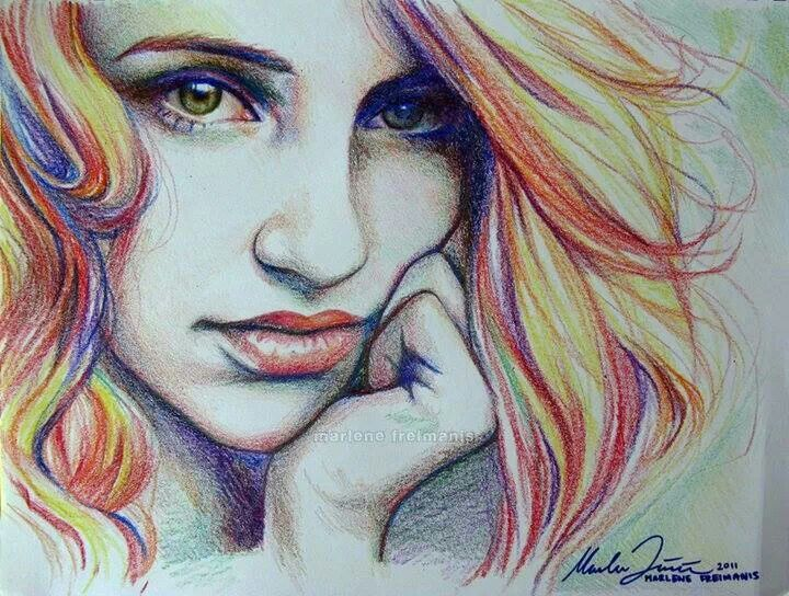 Crayon drawing young lady face eyes nose full lips for Amazing drawings of girls