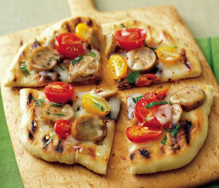 Healthy Grilling Recipes Under 450 Calories: You'd never guess this grilled pizza with sausage, tomatoes, and basil is healthy! #SelfMagazine