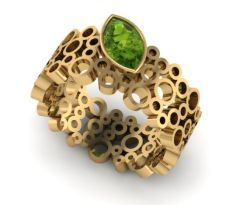 signature ring with peridot - CAD render