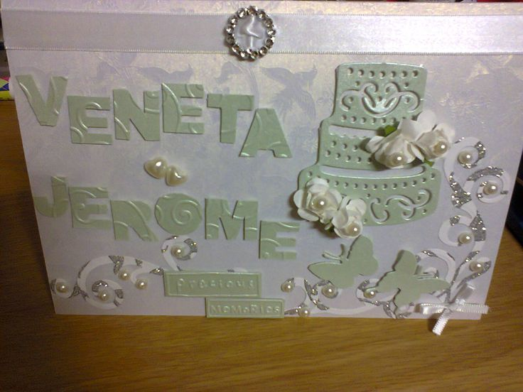 Personalized Mint, White And Silver Wedding Card