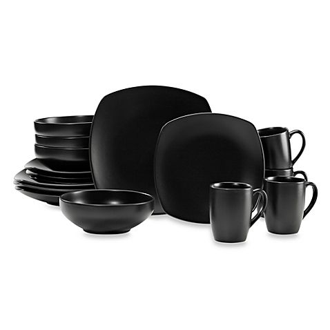 The Black 16-Piece Square Dinnerware Set from Paradiso is made of sturdy stoneware and features a matte black finish and a coupe shape perfect for casual or formal dining. It's a great way to start up the Paradiso black dinnerware collection.
