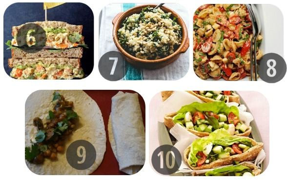 Продолжаем тему... 6. Бутерброд с пюре из нута (можно куриную грудку) 7. Киноа со шпинатом 8. Салат из пасты с помидорами 9. Острые буррито с фасолью (или говядиной) 10. Пита с салатом Капрезе