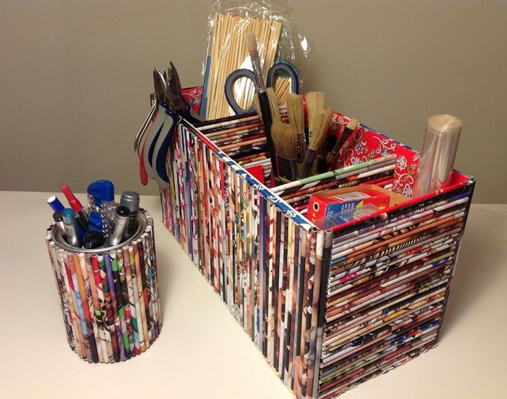 Handicraft Newspaper Basket : Best ideas about recycled magazine crafts on