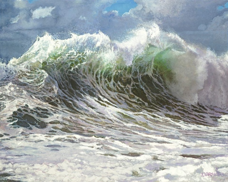 Jim Karlovich's Ocean Paintings.  Few artists can paint such convincing waves!