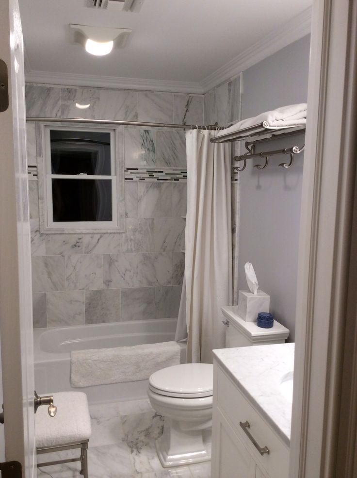 White Carrera Marble Bathroom