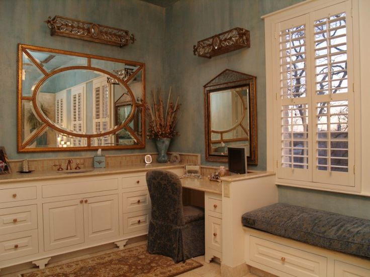 brown marble top with white cabinet with brown marble top makeup counter in the corner with copper framed mirror of Beautiful Vanity with Makeup Counter for Ladies
