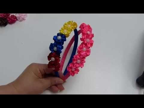 Corona Diadema forrada Decorada con churrito de cinta organza, Diademas Juveniles Pap, #515 - YouTube