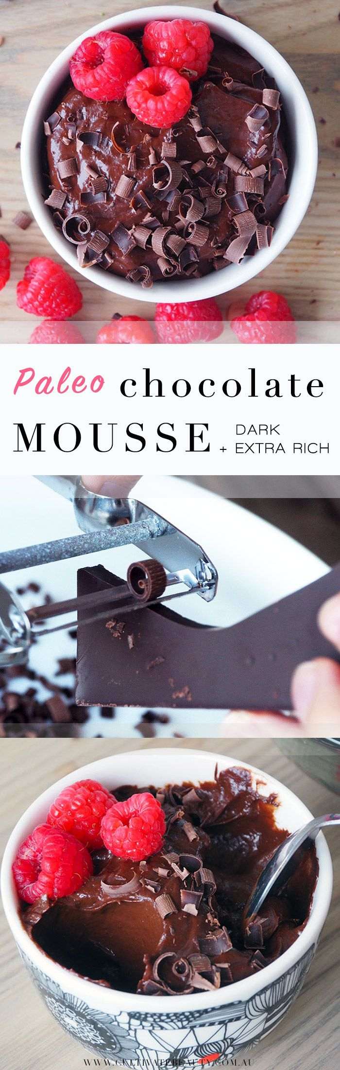 Thankfully, we discovered it's possible to make a delicious chocolate mousse that isn't laden with sugar and cream. This mousse gets it thickness from banana and avocado – don't knock it 'til you've tried it – and its sweetness from the banana and honey. Plenty raw cacao powder also gives this mousse a rich, chocolate flavour.