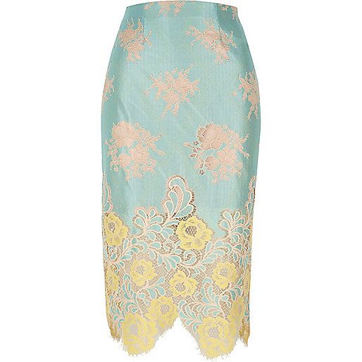 Light green lace midi pencil skirt - midi skirts - skirts - women