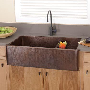 Native Trails Copper Kitchen Sink - Farmhouse Duet Pro CPS274 – Antique Finish - Wave Plumbing