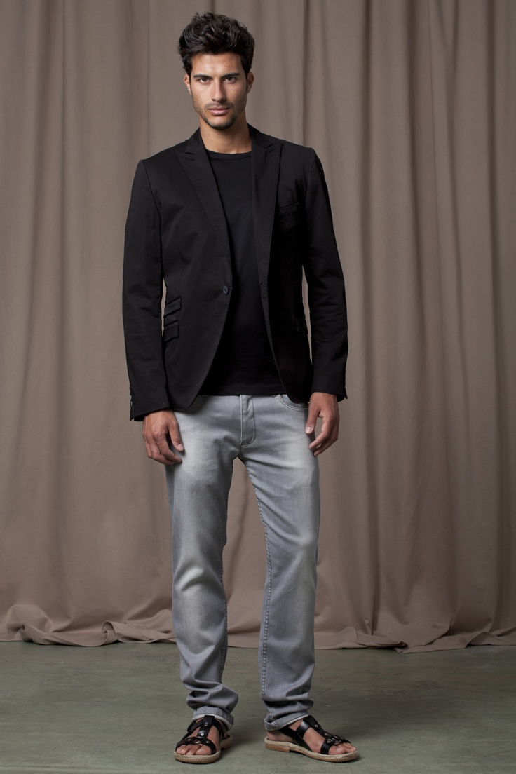 Grey jeans balck leather strappy sandals black t-shirt and black blazer | S/S 2012 For him ...