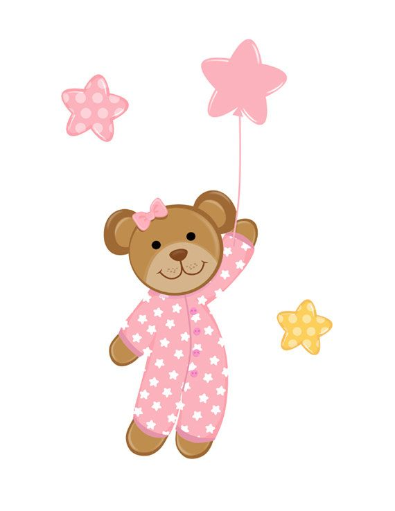 Pink Teddy Bear Wall Mural Decal for baby girl nursery. The gentle wind suddenly lifts little bear's balloon into the twinkling night sky. This bear is absolutely adorable with her cute pink pajamas #decampstudios