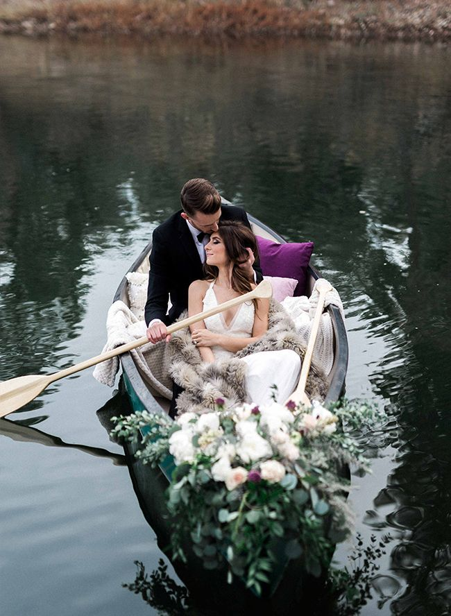 Plum Winter Lakeside Elopement - Inspired By This