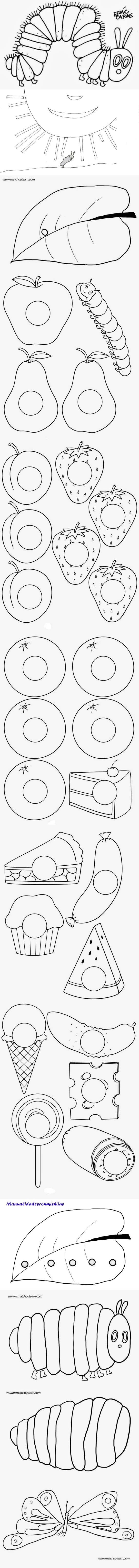 Libro para colorear de la Pequeña oruga glotona. Coloring book The very hungry caterpillar