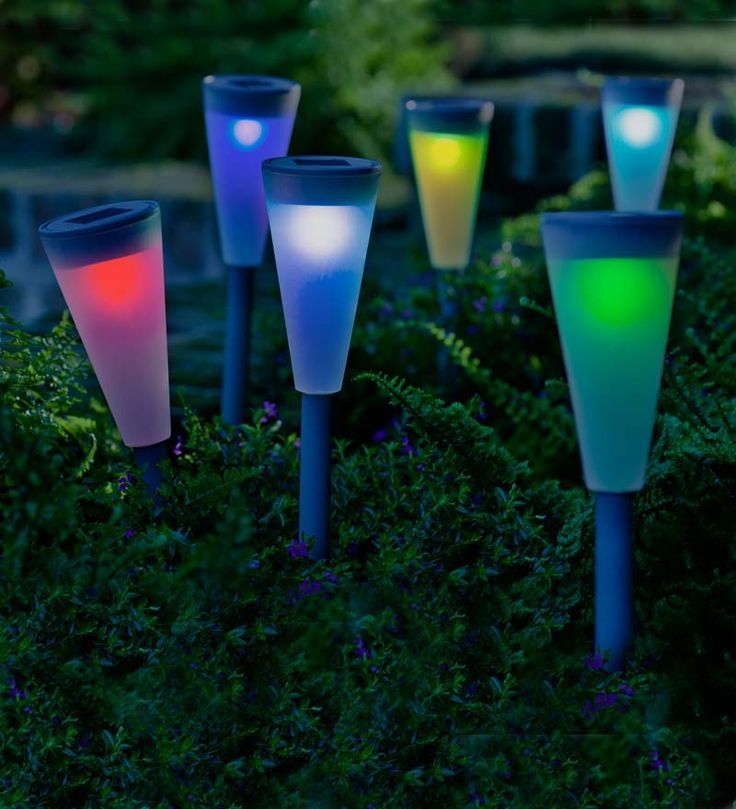 Color-Changing Solar Path Lights, Set of 6   Solar Accents
