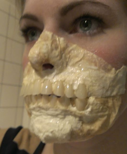 How to make an exposed teeth mask with cheap materials.--Do-able! Good directions great photos! I'm gonna do this!