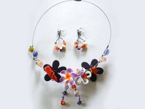 Necklace and earrings Sunset by CreationsBella on Etsy, $34.00