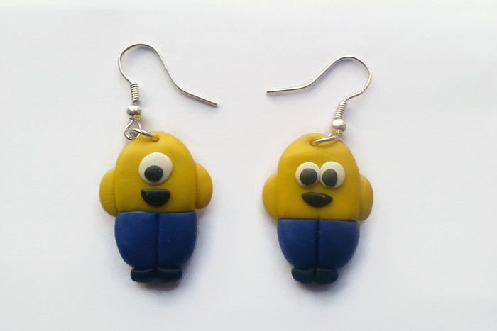 A cute pair of Minion earrings.   www.facebook.com/thequirkycrafthouse
