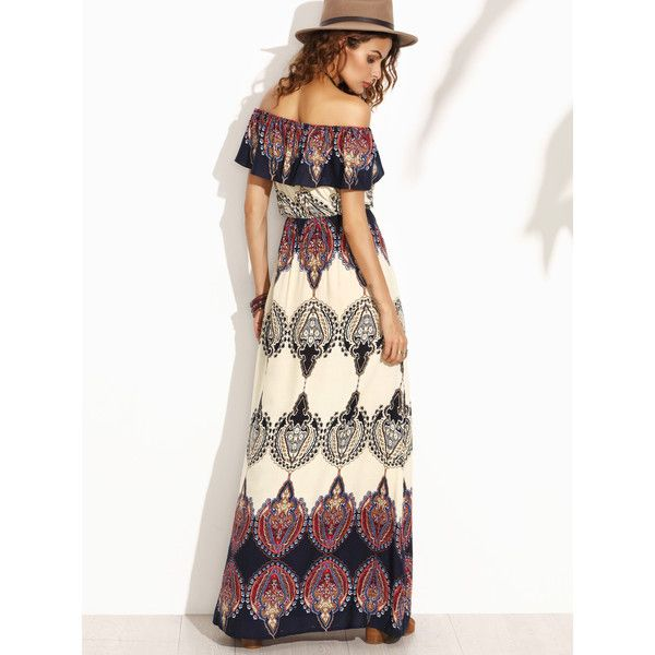 Multicolor Print Off The Shoulder Ruffle Maxi Dress ❤ liked on Polyvore featuring dresses, off the shoulder flounce dress, white ruffle dress, multi color maxi dress, multi colored maxi dresses and white off-shoulder dresses
