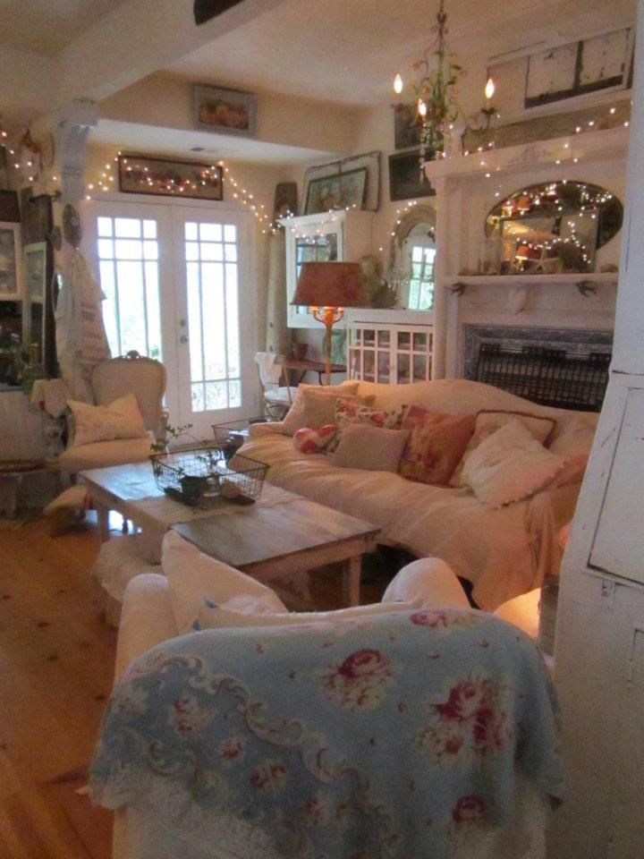 Cottage Living Room With Fairy Lights