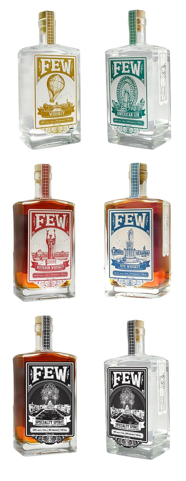 FEW Spirits Bottles (American Gin, Rye Whiskey, Bourbon Whiskey and White Whiskey and Specialty Spirits)
