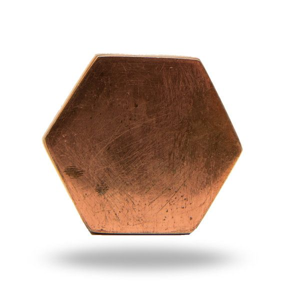 Hexagon Shaped Copper Metal Cabinet Handle Cupboard by TrincaFerro